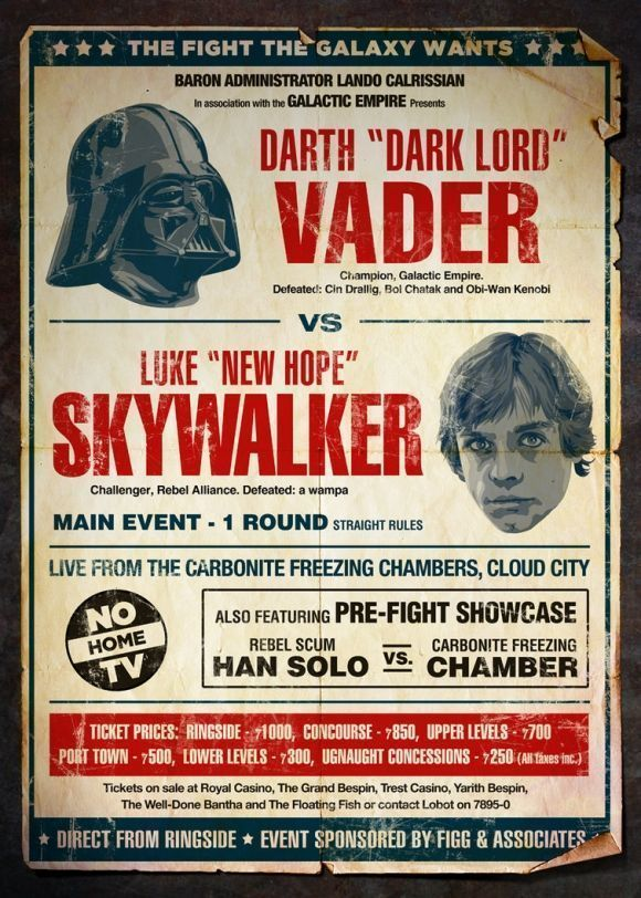 Star Wars revisité en 4 affiches ... sur un ring de catch