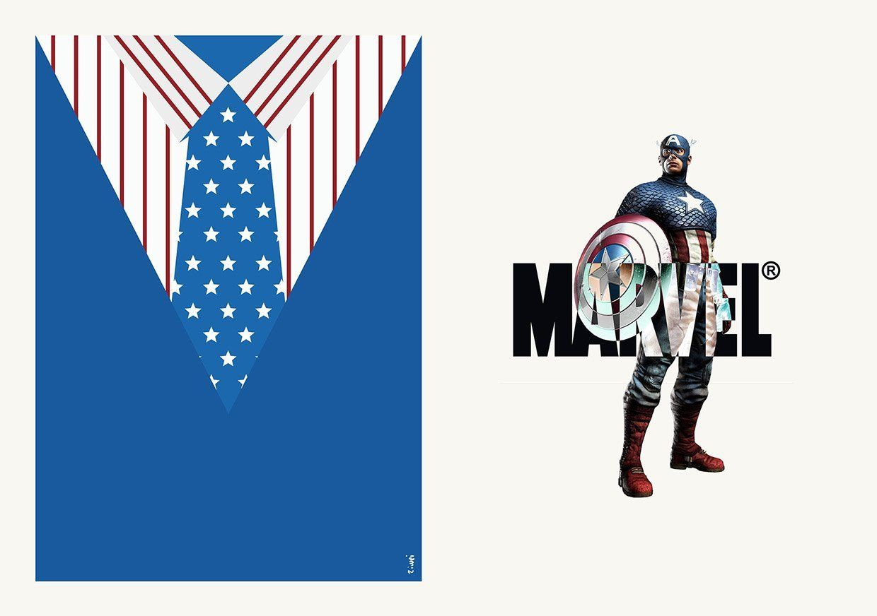 Captain America suit and tie Zi Wei Tan costard cravate