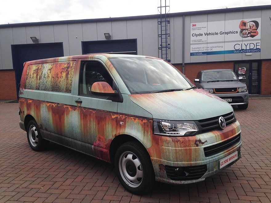 Volkswagen Transporter habillage rouille marquage véhicule clyde's wrap 2