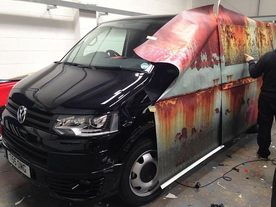 Volkswagen Transporter habillage rouille marquage véhicule clyde's wrap