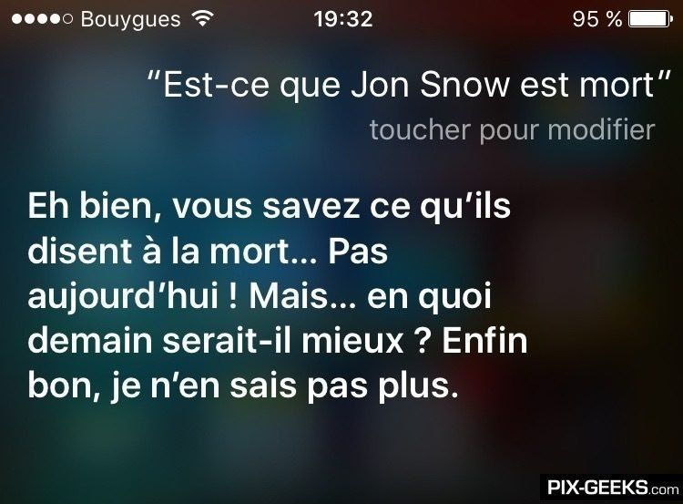 Siri aussi est fan de Game Of Thrones